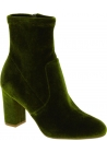 Steve Madden Botines de tacón alto cuarado para mujer en terciopelo verde
