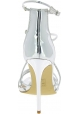 Steve Madden Sandalias de tacón de aguja para mujer piel sintética plateada