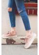 Steve Madden Zapatillas bajas con cordones plataforma mujer en satén rosa