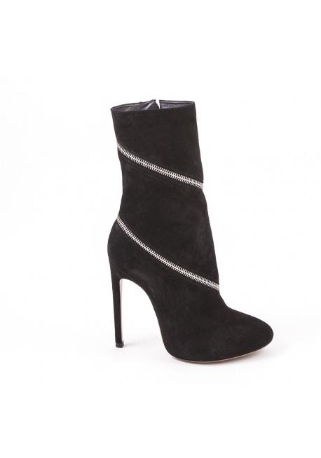 Alaïa midcalf con cremallera botas en gamuza negra