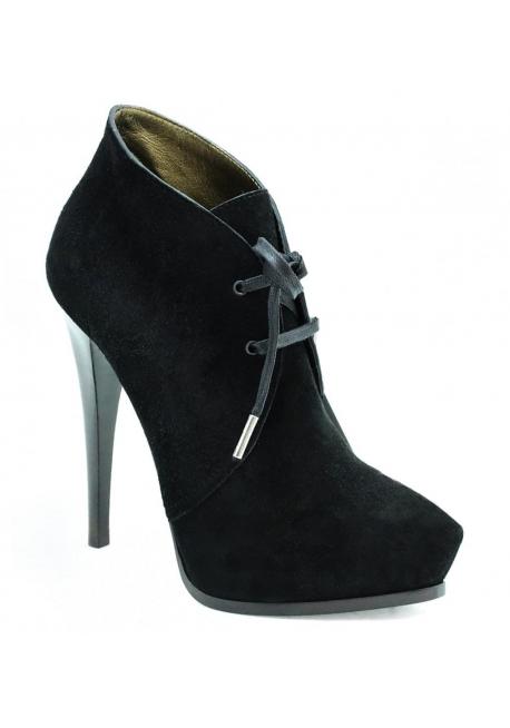 Lanvin zapatos botines en cuero de cabrito negro