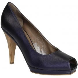 Bombas de dedo del pie abierto Marni en cuero metalizado violeta