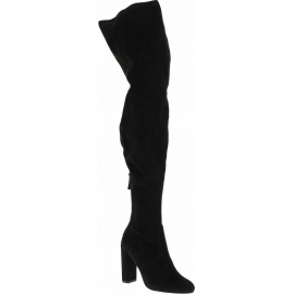 Steve Madden Botas sobre la rodilla tacones altos mujer tela de gamuza negra