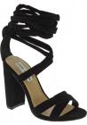 Steve Madden Sandalias con tacones altos cordones para mujer en gamuza negra