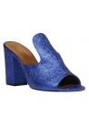 Paris Texas Zapatos de mulas tacón alto mujer piel de becerro laminada azul