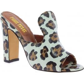 Paris Texas Zapatos de mulas tacón alto mujer piel de leopardo made in Italy