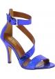 Paris Texas Sandalias tacón alto correa en el tobillo mujer piel de pitón azul