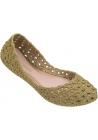 Melissa Zapatillas de ballet de moda para mujeres en goma tejida dorada