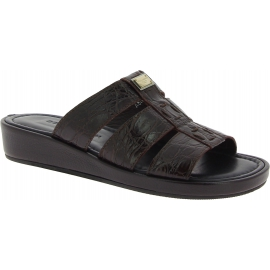 Dolce&Gabbana Sandalias de moda para hombre en piel de cocodrilo marrón oscuro