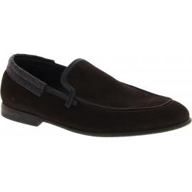 Dolce&Gabbana Zapatos mocasines hombre en cuero caiman gamuza marrón oscuro