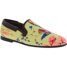 Dolce&Gabbana Mocasines para hombres en lona beige con estampado floral