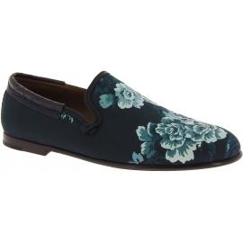 Dolce&Gabbana Mocasines de hombre en piel estampada de cocodrilo azul celeste