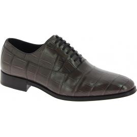 Zapatos con cordones Dolce&Gabbana de piel de cocodrilo gris