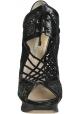 Nicholas Kirkwood tacones botines en tela de cuero negro