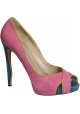 Zapatillas peep toe de Nicholas Kirkwood en gamuza rosa