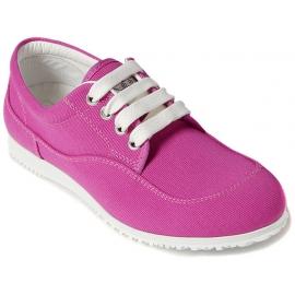 Hogan Zapatillas bajas cordones punta redonda mujer en lona rosa suela blanca