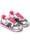 Hogan Zapatillas bajas de moda para mujer en tela y cuero plateado rosa