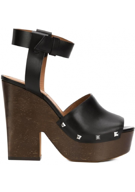 Givenchy 'Sofia' Zuecos Sandalias en piel de becerro negra