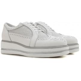 Hogan Zapatos con cordones cuñas de moda para mujer en piel y tela blanca