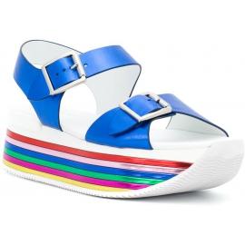 Hogan Sandalias de cuña arcoíris para mujer con hebillas en piel laminada azul