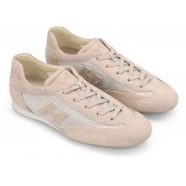 Hogan Zapatos deportivos con cordones para mujer en piel tela rosa claro