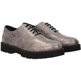 Hogan Zapatos oxfords con cordones de moda para mujer en piel laminada gris