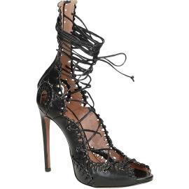 Alaïa sandalias de tacón de tiras cuero negro