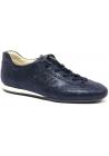Hogan Zapatillas bajas con cordones para mujer en piel azul efecto mojado