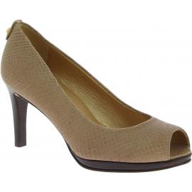 Stuart Weitzman Zapatos de salón punta abierta tacón mujer piel de reptil beige
