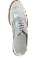 Hogan Zapatos brogues de moda mujer con cordones en charol blanco plateado