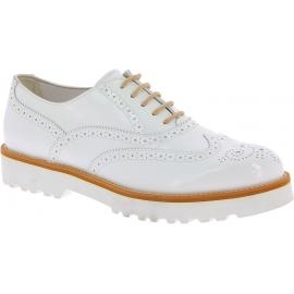 Hogan Zapatos brogues con cordones punta redonda para mujer en charol blanco