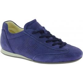 Hogan Zapatillas bajas para mujeres con puntera redondeada en ante azul