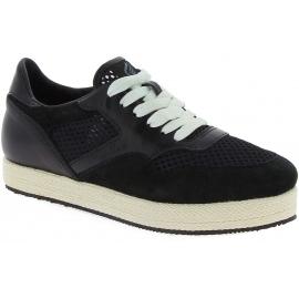 Hogan Zapatillas bajas bicolor de moda para mujeres en piel y tela negras