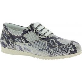 Hogan Zapatillas bajas de moda mujer en piel gris blanca estampado de pitón
