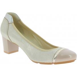 Hogan Zapatos de salon para mujeres con tacon cuadrado medio en piel dorada
