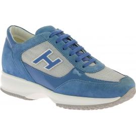 Hogan Zapatillas deportivas dos tonos para mujer piel y tela azul claro y gris