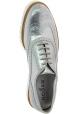 Hogan Zapatos brogues con cordones mujer en piel de becerro laminada plateada