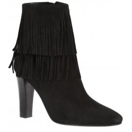 botas de ante negro tobillo de los talones Saint Laurent Lily