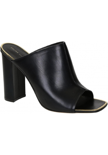 Céline tacón desliza sandalias en cuero negro