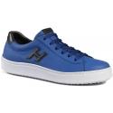 zapatillas de deporte de los zapatos de los hombres Hogan H302 en cuero azul