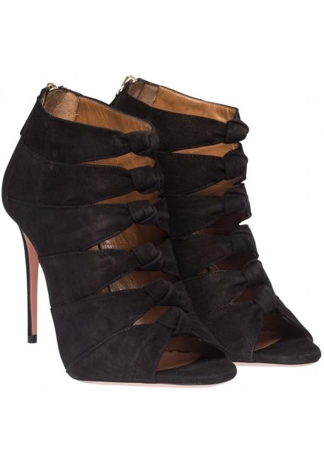 Aquazzura sandalias de tacón en piel de negro