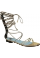 Lanvin planos sandalias de tiras de piel de becerro de oro