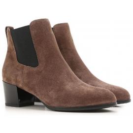 Hogan botas de tacón de cuero de gamuza marrón