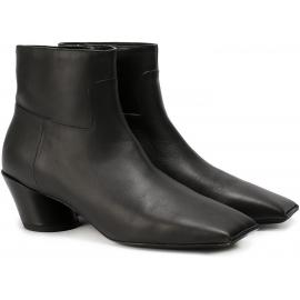 Balenciaga cuadrado toe botas de cuero negro de tobillo