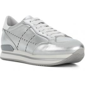 Zapatillas deportivas con cuña para mujer Hogan en piel plateada