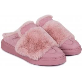 Zapatillas de invierno para mujer Hogan en piel y pelo rosa