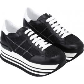 Zapatillas deportivas de cuña para mujer Hogan en cuero y tejido negro
