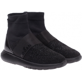 Hogan Zapatillas deportivas de mujer con elástico alto en piel y tejido negro con purpurina