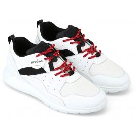 Hogan Zapatillas de hombre en piel y tejido blanco con detalles negros y cordones rojos