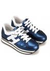 Hogan Zapatillas de moda con cuña para mujer en piel laminada azul metalizado